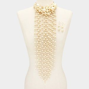 Jewelry - Long Dramatic Pearl Cluster Statement Necklace